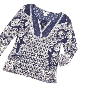 Lucky Brand Blue Cream Lace Detail Top